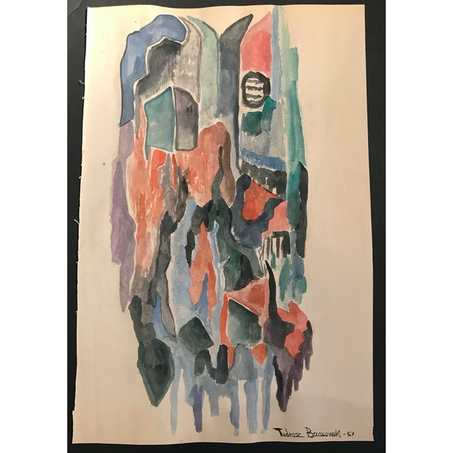 Mid-Century Modern Tadeusz Brzozowski Abstract Painting 1967 For Sale - Image 3 of 4