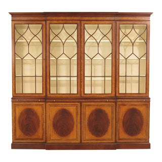 1990s Traditional Ej Victor Satinwood Inlaid 4 Door Breakfront Bookcase For Sale