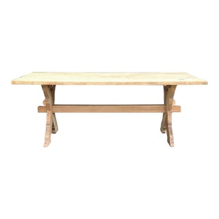 Antique Rustic Stripped Oak Trestle Table For Sale
