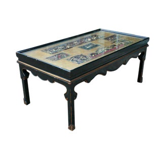 Chinese Screen Cocktail Table with Lacquer Base For Sale