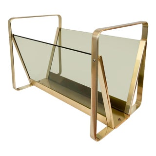 Brass Plate & Glass Magazine Rack