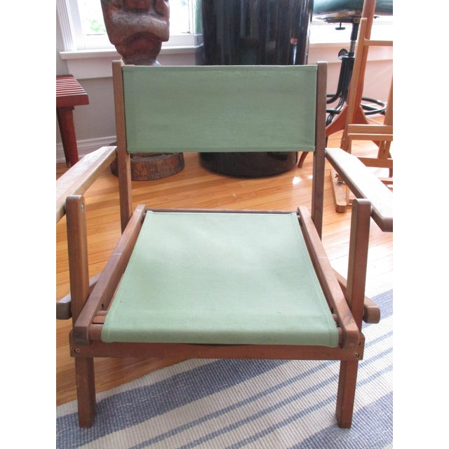 Teak Vintage Teak Folding Canvas Chairs - A Pair For Sale - Image 7 of 10
