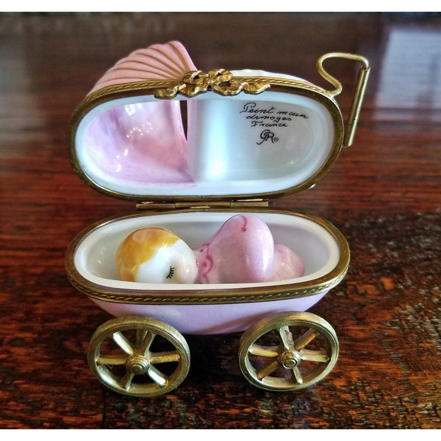 Pink French Limoges Baby Pram With Baby For Sale - Image 8 of 12