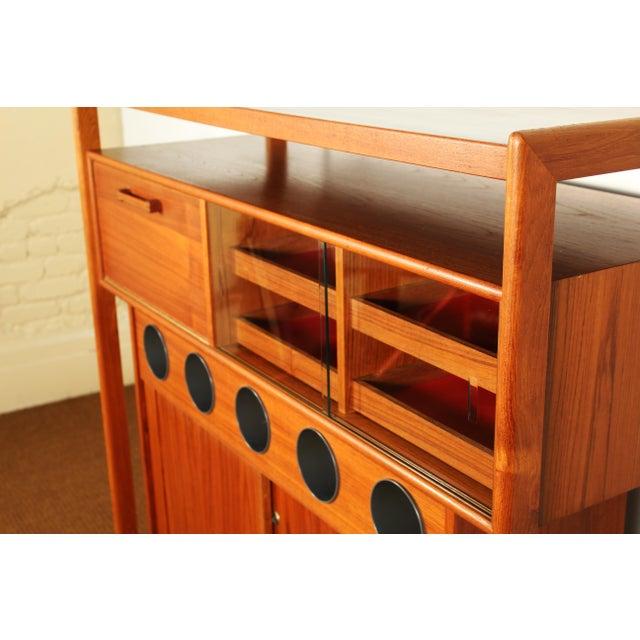Glass Dyrlund Danish Modern Teak Dry Bar For Sale - Image 7 of 10