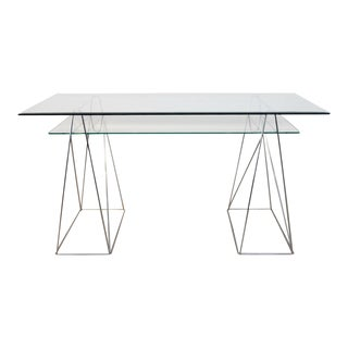 Chrome and Glass Trestle Leg Console Table or Desk For Sale