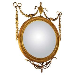 19th Century Adam Style Giltwood Convex Mirror For Sale