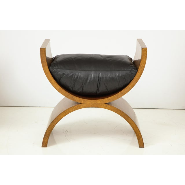 Set of 4 Jay Spectre, Inc. benches. The down-filled leather cushions are removable. Jay Spectre designs represented a...