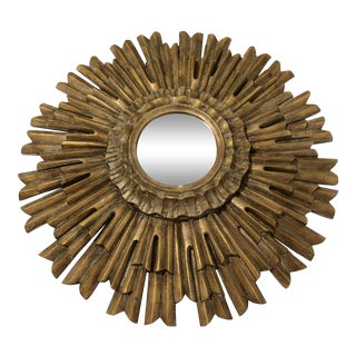 Gilded Sunburst Wall Mirror For Sale