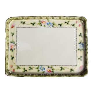 Victorian Hand Painted Floral Porcelain Vide Poche or Vanity Tray For Sale