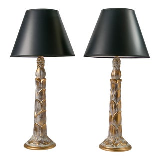 1950s Gilt Palm-Style Hollywood Regency Ceramic Lamps - A Pair