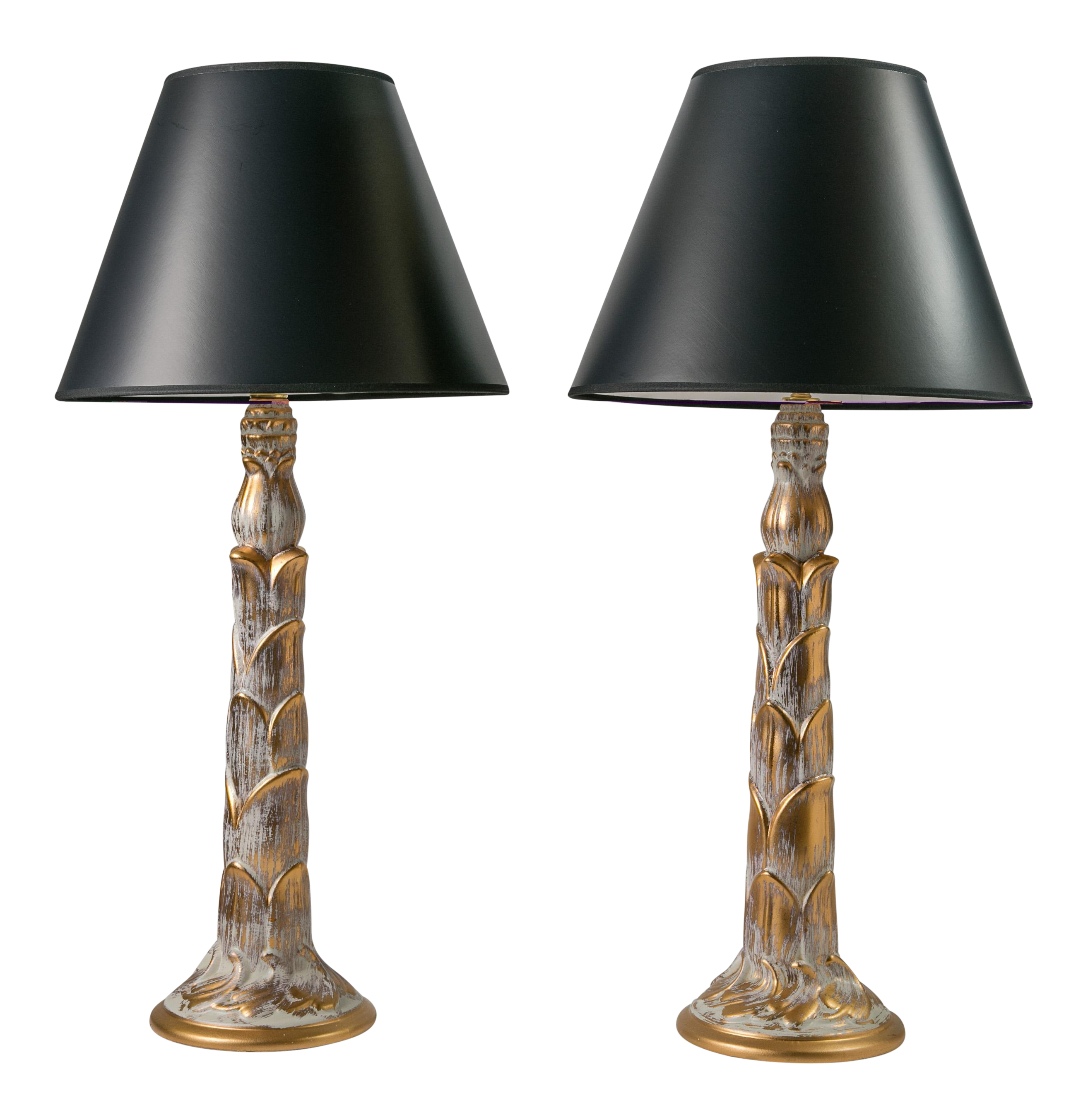 1950s Gilt Palm Style Hollywood Regency Ceramic Lamps   A Pair