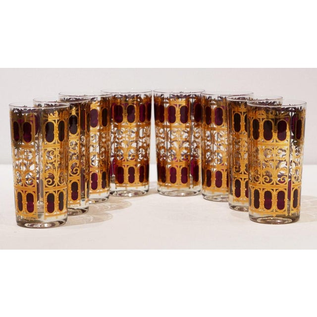 """Culver 22k Gold """"Cranberry Scroll"""" Cocktail Glasses For Sale In Palm Springs - Image 6 of 6"""