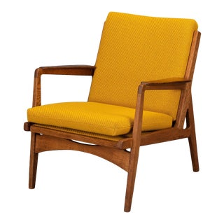 Midcentury Danish Dark Oak with Ocher Yellow Pillows Accent Chair, 1960s For Sale