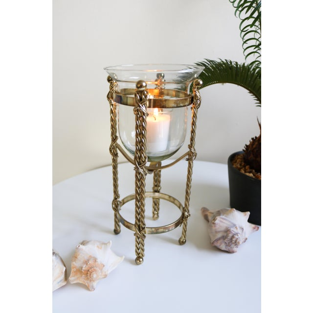 Mid-Century Tall Brass & Glass Candleholder For Sale - Image 11 of 13