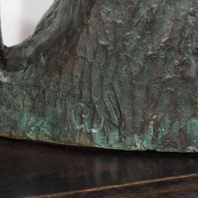 Gold Signed Mid Century Modern Large Scale Patinated Bronze Sculpture For Sale - Image 8 of 10