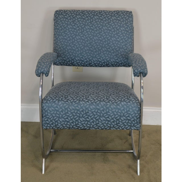 Art Deco Vintage Chrome Frame Pair of Armchairs For Sale - Image 4 of 13