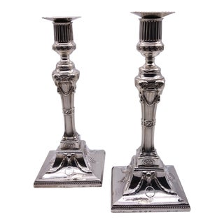 18th Century Sterling Silver Candlesticks - a Pair For Sale