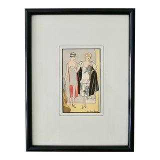 1920s Vintage Original Parisian Porchoir Framed Fashion Print For Sale