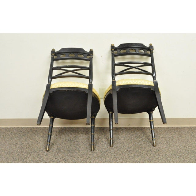 Pair of Antique Chinoiserie Oriental Japanned Black Painted Pagoda Side Chairs For Sale - Image 4 of 11