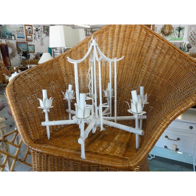 Faux Bamboo Vintage Pagoda Chandelier - Image 7 of 7