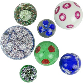 Fratelli Toso Italian Murano Vintage Millefiori Flowers Mosaic Art Glass Mid Century Paperweight Set - 7 Pieces For Sale