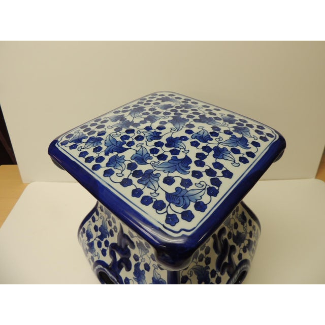Boho Chic Vintage Blue and White Ceramic Painted Garden Stool For Sale - Image 3 of 7