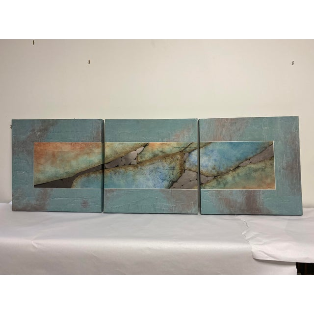 Mid-Century Three Piece Mixed Media Painting For Sale - Image 12 of 12