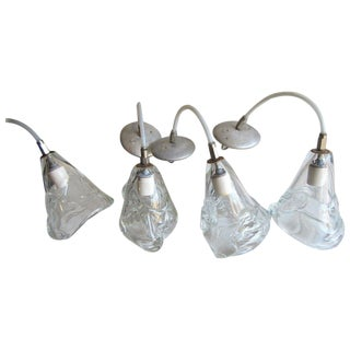 Four Handblown Glass Hanging Fixtures For Sale