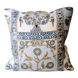 Thibaut Indian Panel Blue and Yellow Fabric Pillow With Down Inserts For Sale