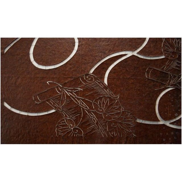 Brown C.1850s Edo Era Japanese Katagami Scrolls and Leaves Stencil Art For Sale - Image 8 of 13