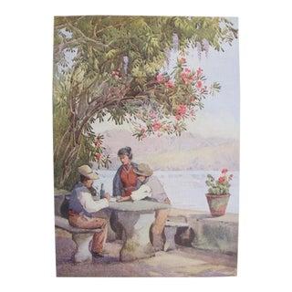 1905 Original Italian Print - Italian Travel Colour Plate - a Restaurant For Sale