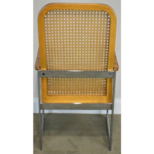 Milo Baughman for Lane Mid Century Modern Set 6 Cane Back Chrome Dining Chairs For Sale In Philadelphia - Image 6 of 12