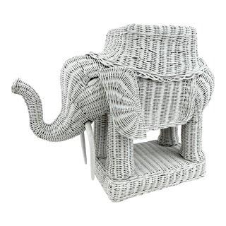 Vintage 1970s White Wicker Elephant Plant Holder For Sale