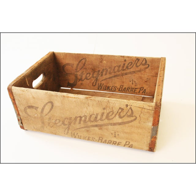 Americana Vintage Rustic Stegmaier's Brewery Wood Crate For Sale - Image 3 of 11