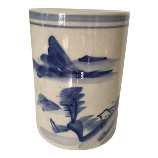 20th Century Chinese Blue and White Landscape Design Brush Pot For Sale
