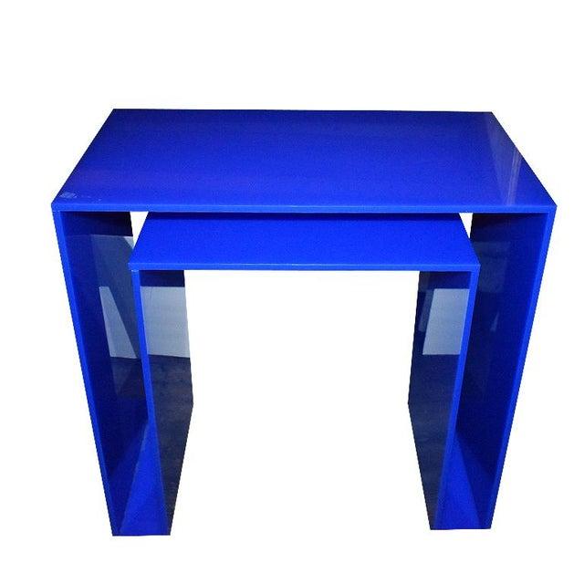 Acrylic Memphis Style Blue Acrylic Desk For Sale - Image 7 of 7