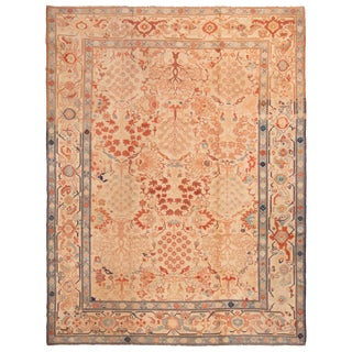 Antique Sultanabad Orange and Blue Medallion Style Wool Rug - 9′9″ × 12′10″ For Sale