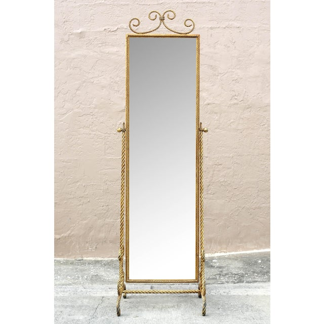 Hollywood Regency Vintage Gold Gilt Wrought Iron Rope Floor Mirror - Made in Italy For Sale - Image 3 of 11
