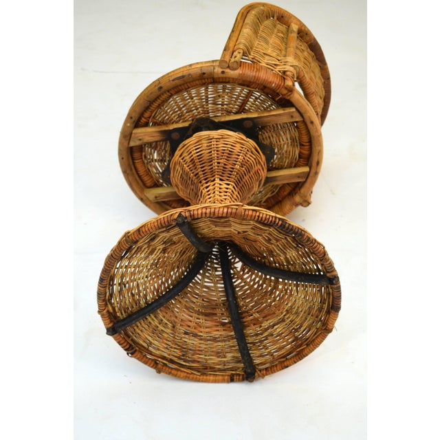 Tan 1950s Wicker Rattan Dinette with Swivel Seats - 3 Pieces For Sale - Image 8 of 9