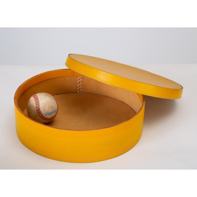 Round Leather Nesting Boxes by Arte Cuoio & Triangolo - A Pair For Sale - Image 11 of 13