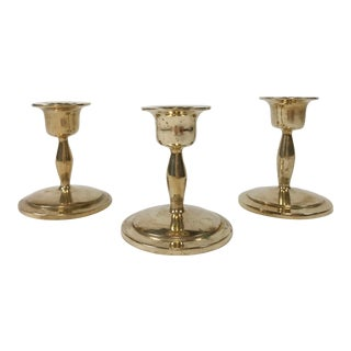 Mid-Century Brass Candlesticks, S/3 For Sale