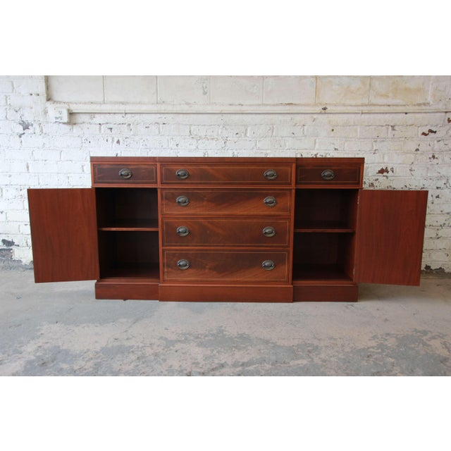 Mahogany Baker Furniture Inlaid Mahogany Sideboard Buffet For Sale - Image 7 of 11