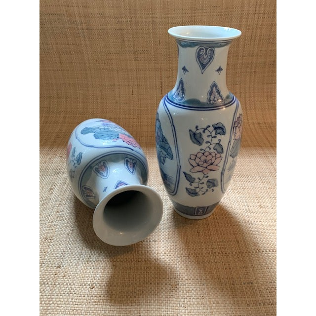 1980s Vintage Chinoiserie Pastel Colored Vases- A Pair For Sale - Image 4 of 7