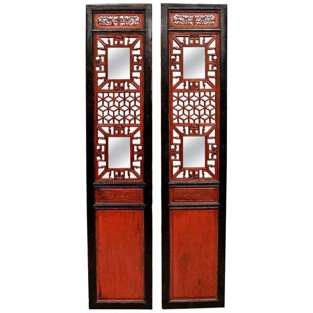 Antique Chinese Red and Black Screens - a Pair For Sale - Image 13 of 13