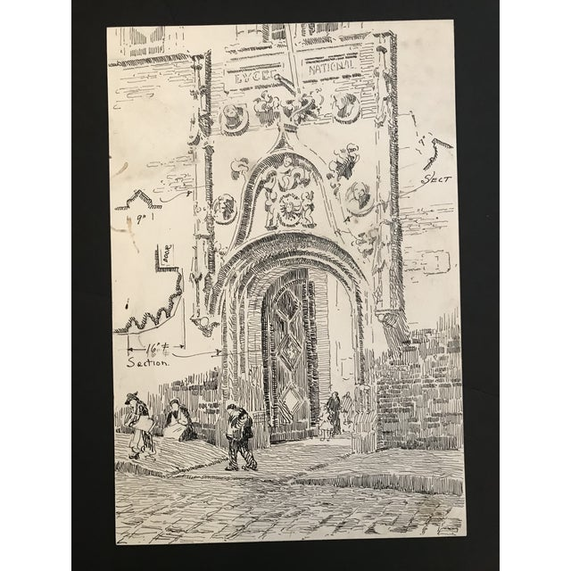Gothic 1920s Medieval Gothic Doorway Architectural Drawing For Sale - Image 3 of 3