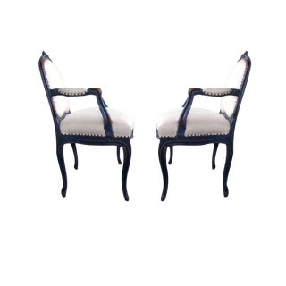 Graceful Pair of French Rococo Blue-Gray Painted Armchairs With Rocaille Carving For Sale