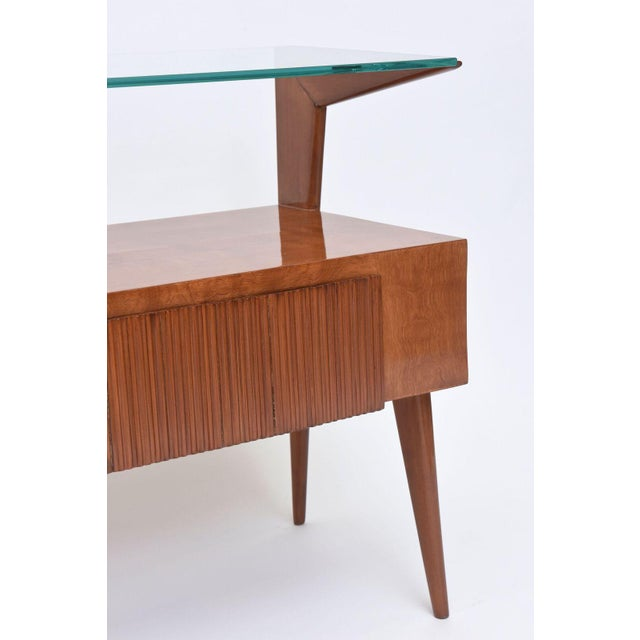 Italian Modern Walnut and Glass Top Two-Tiered Low Table, Paulo Buffa Attributed For Sale - Image 11 of 11