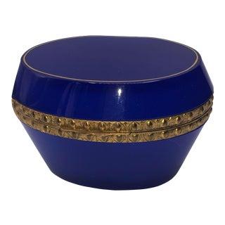 1940s Oval Blue Opaline French Trinket Box For Sale