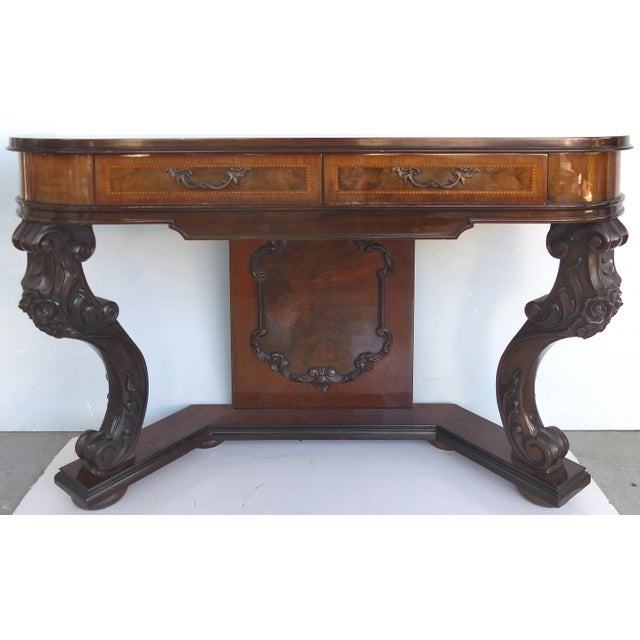 Carved Two-Drawer Console Table With Mahogany, Satinwood and Ebonized Wood For Sale - Image 13 of 13