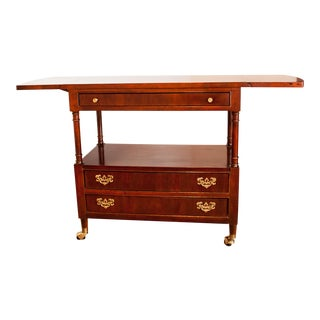 """Chippendale Bernhardt Solid Cherry Traditional 38"""" Drop-Leaf Server / Buffet For Sale"""